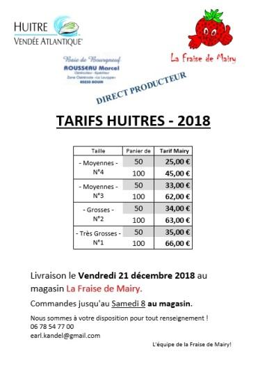 huitres tarifs 2018